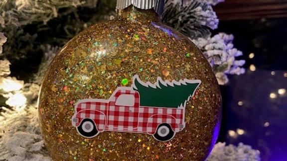 Honeycomb Gold Glittered, Gingham Christmas Truck Ornament