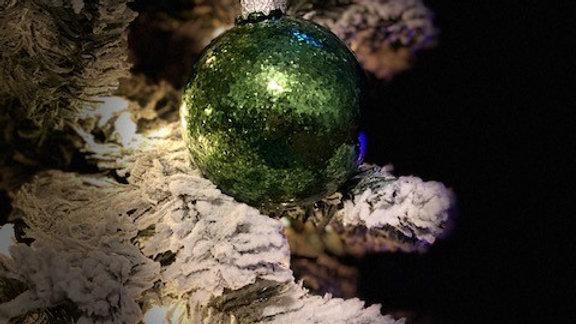 OD Green Glitter Glass Ornament