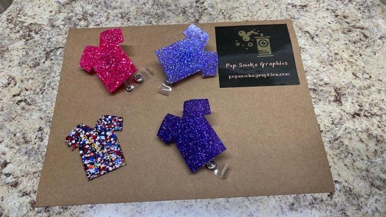 Glittered Resin Scrub Badge with Badge Reel