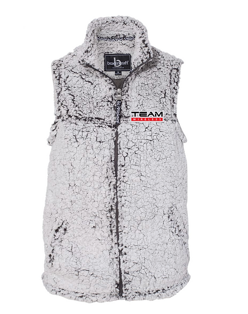 Embroidered Sherpa Full-Zip Vest