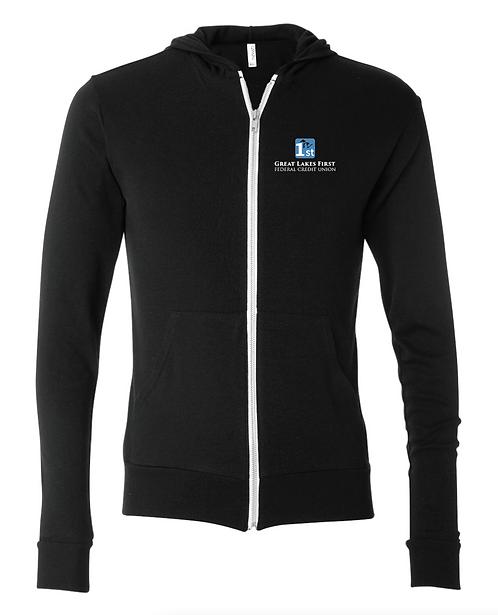 Unisex Triblend Lightweight Full-Zip Hooded Long Sleeve