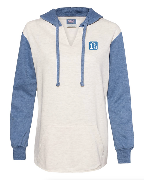 Women's Hooded Pullover with Colorblocked Sleeves
