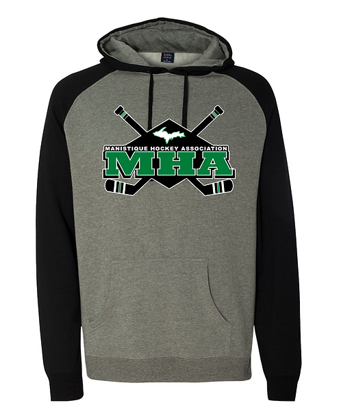 Gunmetal Heather Black Hooded Sweatshirt