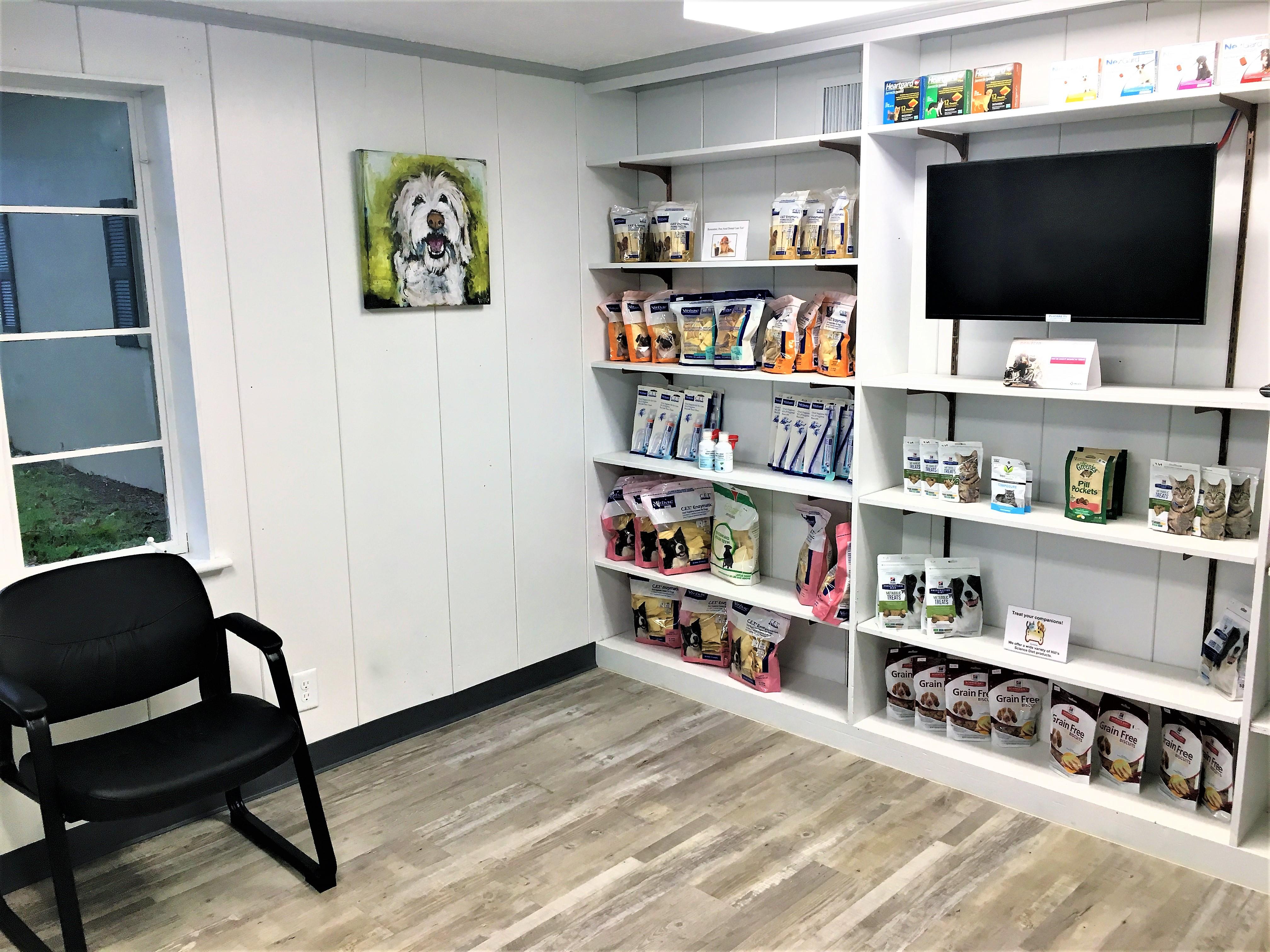 veterinary lobby with dental products pinehurst animal hospital