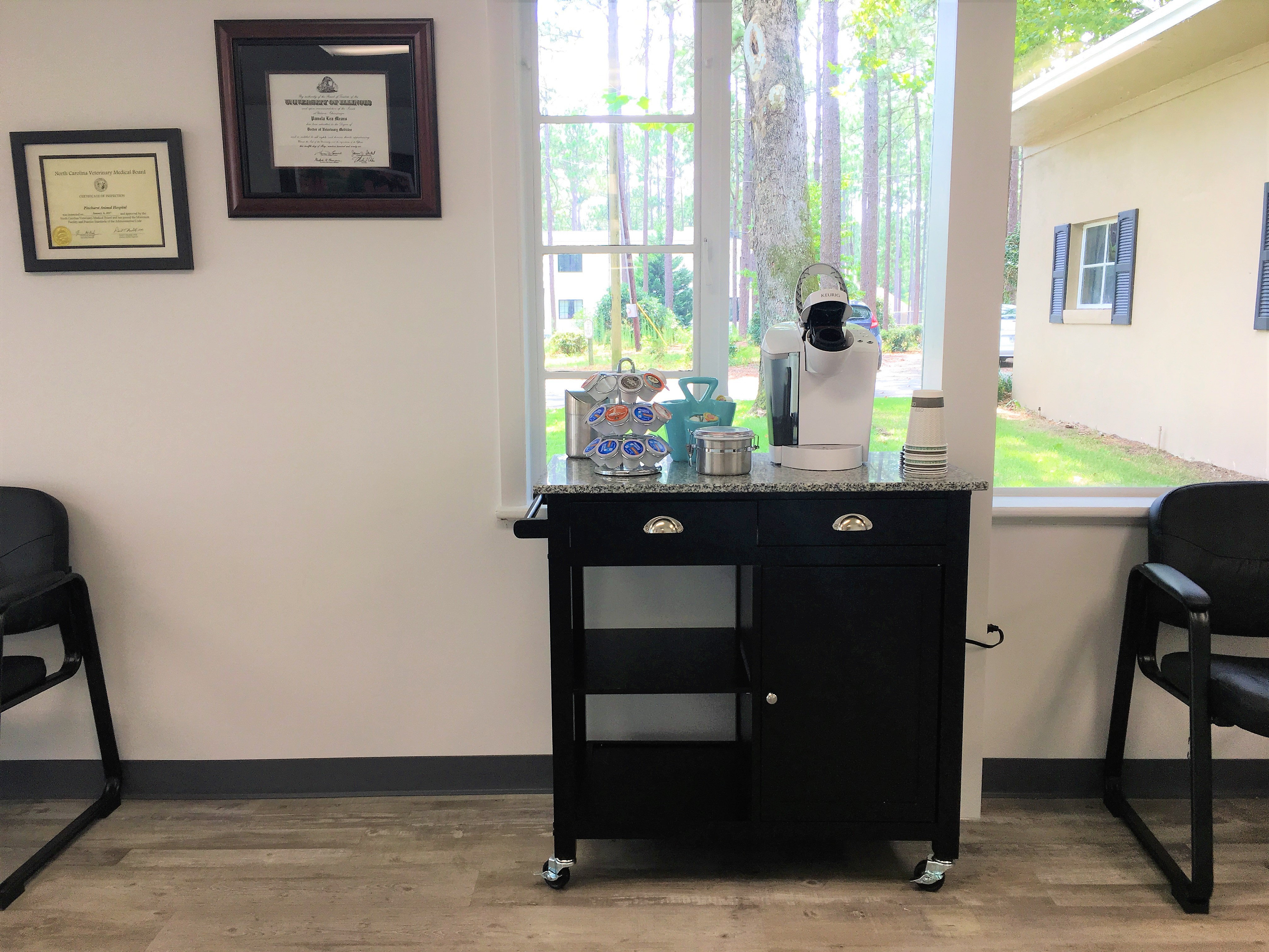 coffee station lobby of veterinary clinic