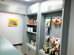 check out desk with veterinary products