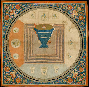 Yuan dynasty's Cosmology which depicting the 7 mountains & 7 seas in square shape.