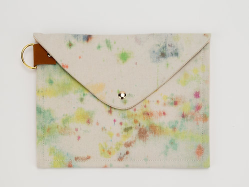 Drop Cloth Clutch/ipad case w/ leather details