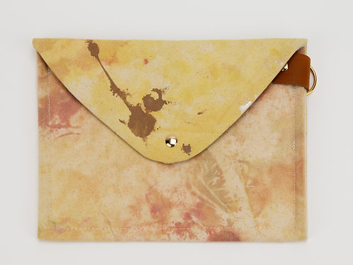 Drop Cloth Clutch/ipad case w/ leather details