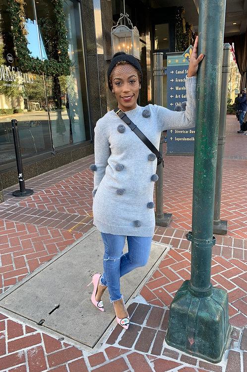 Pom Pom sweater dress