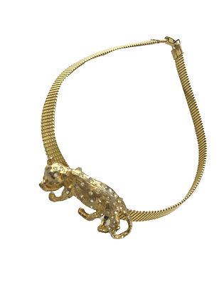 Collar vintage con dije de Leopardo