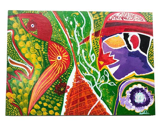 Cuadro abstracto de Ruffi Medidas: 45 x64 cm