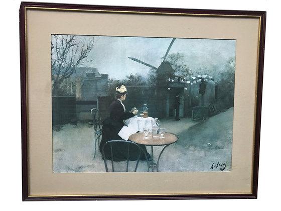 Cuadro de mujer en paisaje Medidas: 51 x 41 cm