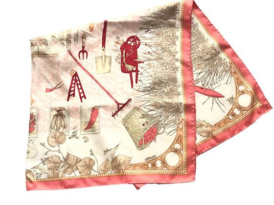 Pañuelo Longchamp con estampado de huerta 89 x 87 cm
