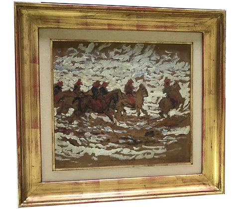Cuadro Caballos en óleo Medidas: 45 x 45 cm