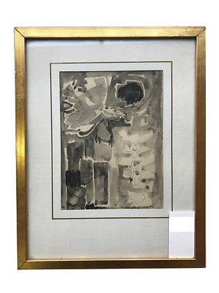 Cuadro abstracto en grises Medidas: 29 x 37 cm