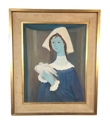 Cuadro Busto de mujer con paloma  Medidas: 40 x 50 cm