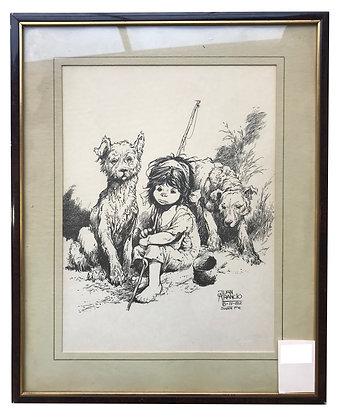 Cuadro Niña con lobos Medidas: 60 x 45 cm