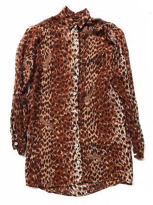 Camisa vintage, animal print con bolsillos Talle: S