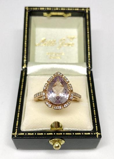 9ct Amethyst and Diamond Ring