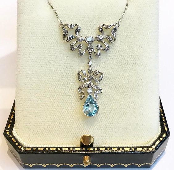 18ct Aquamarine and Diamond Necklace