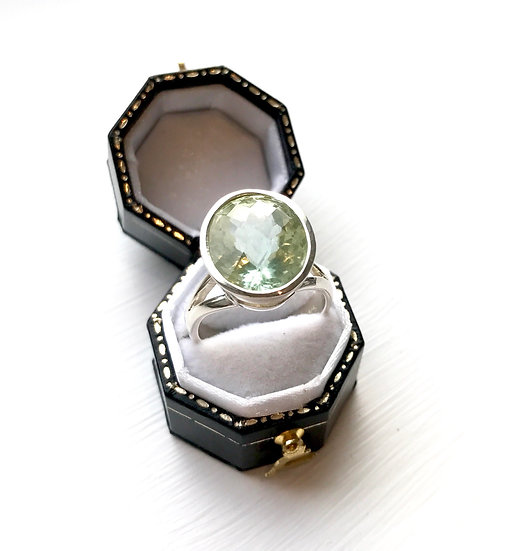 Silver Green Amethyst Ring