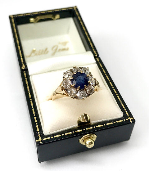18ct Sapphire and Diamond Cluster Ring