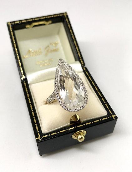 18ct White Topaz and Diamond Ring
