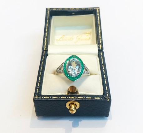 18ct White Gold Aquamarine and Emerald Ring