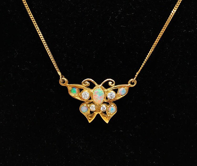 Opal and Diamond Butterfly Necklace