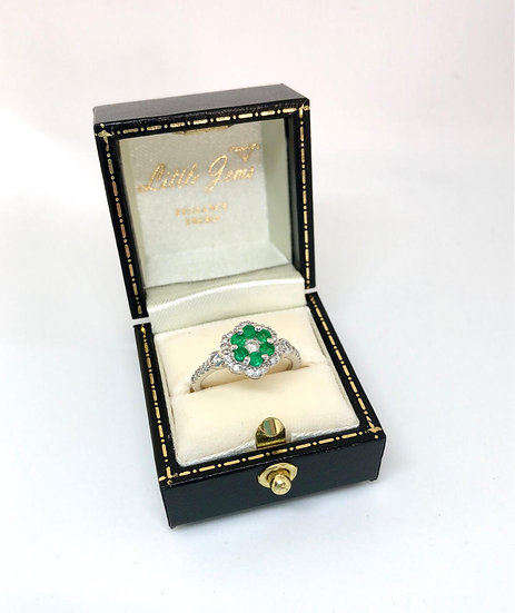Emerald and Diamond Daisy Ring