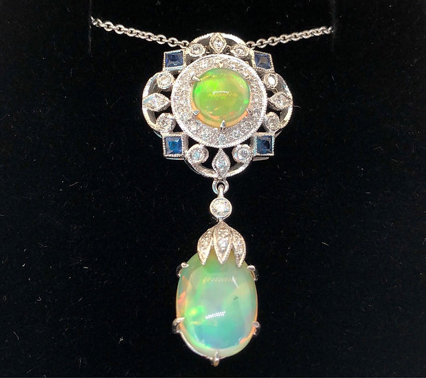 Opal, Sapphire and Diamond Necklace