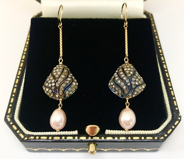 Diamond and Freshwater Pearl Earrings
