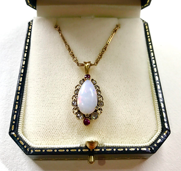 Victorian Opal, Ruby and Diamond Pendant