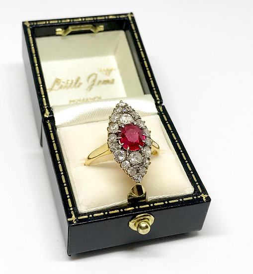 18ct Ruby and Diamond Marquise Ring