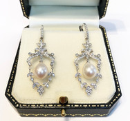 18ct White Gold Pearl and Diamond Earrings
