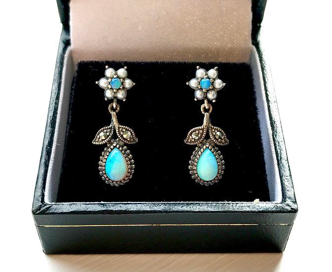 Silver Opal and Pearl Earrings