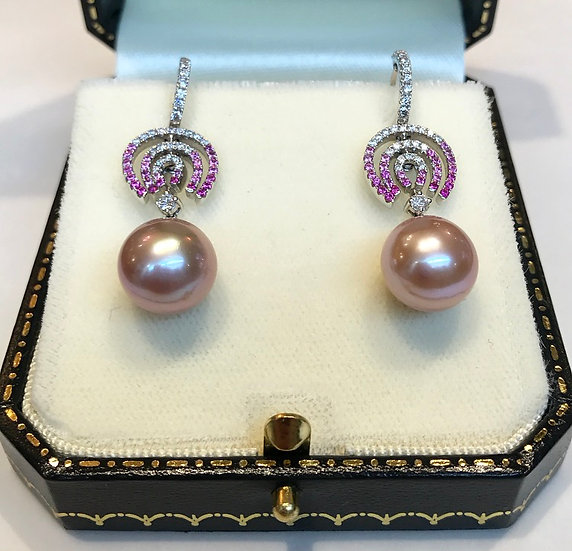 18ct Pearl, Diamond and Pink Sapphire Earrings
