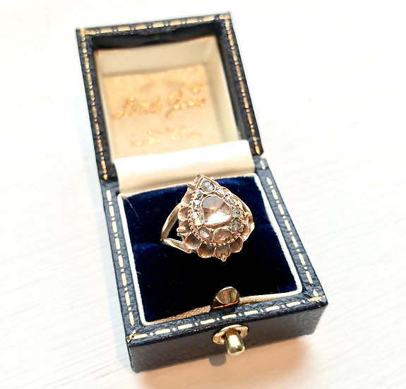 Georgian Teardrop Diamond Cluster Ring