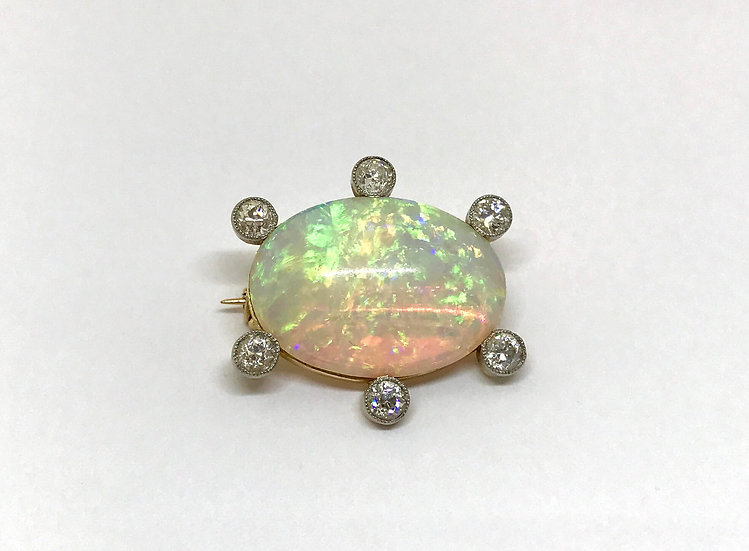 Victorian Opal and Diamond Brooch