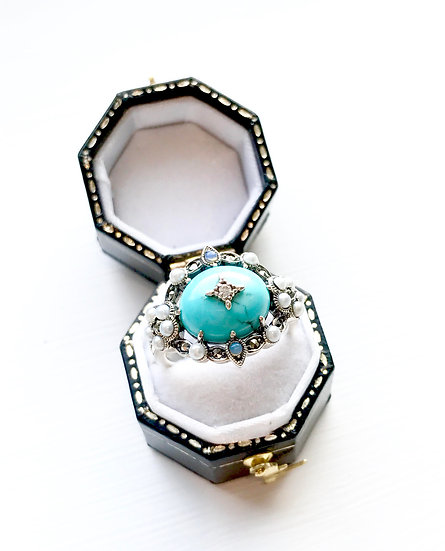 Silver Turquoise, Marcasite, Opal & Seedpearl Ring