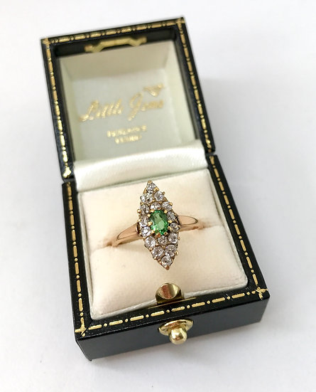 18ct Emerald and Diamond Marquise Ring