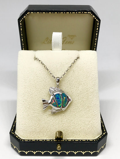 9ct Opal Fish Pendant