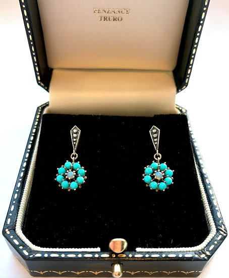 Silver Turquoise and Opal Earrings