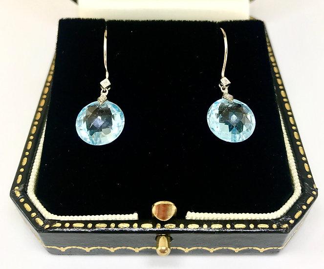 9ct Whitegold Topaz and Diamond Drop Earrings