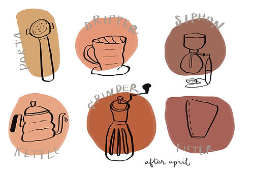 Coffee Sticker No.5 by After April