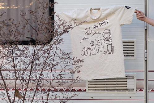 Hello Coffee 2020 T-shirt (สีครีม) by School Coffee