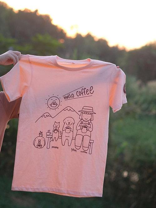 Hello Coffee 2020 T-shirt (สีโอรส) by School Coffee
