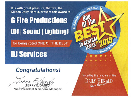 """G Fire Earns the Killeen Dailey Herald's """"One of the Best DJ Services in Central Texas"""" Award!"""