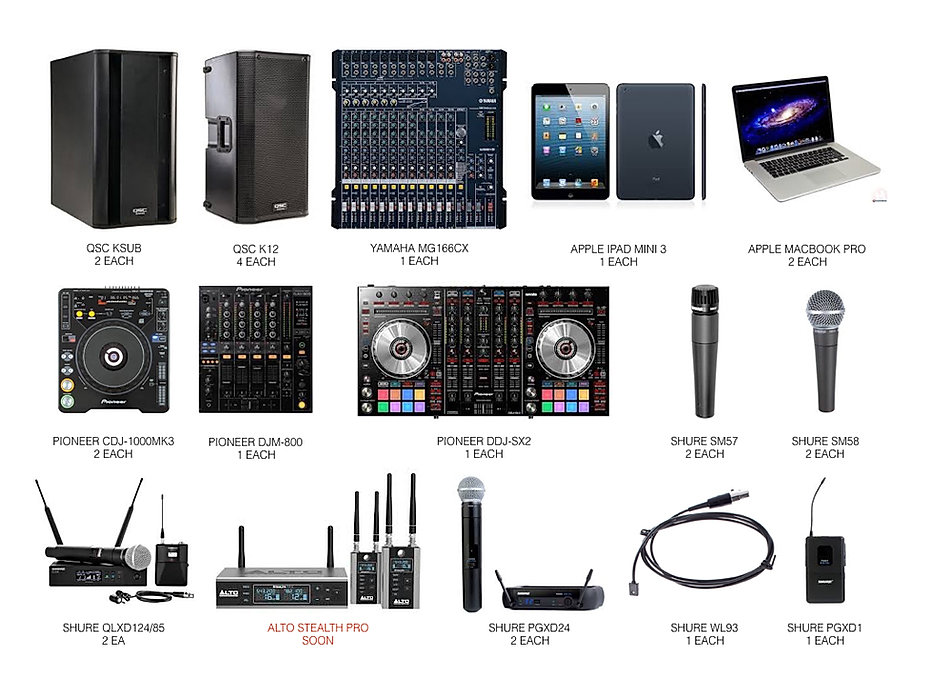 Digital Mixer,DJ Equipment, Best DJ gear, prosound, QSC, Pioneer, MacBookPro, Shure Wireless Mics, QLXD,